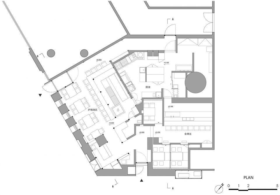 两种风格拼合而成的餐厅,成都炉端烧源六+会席尺八 | 堤由匡建筑设计工作室