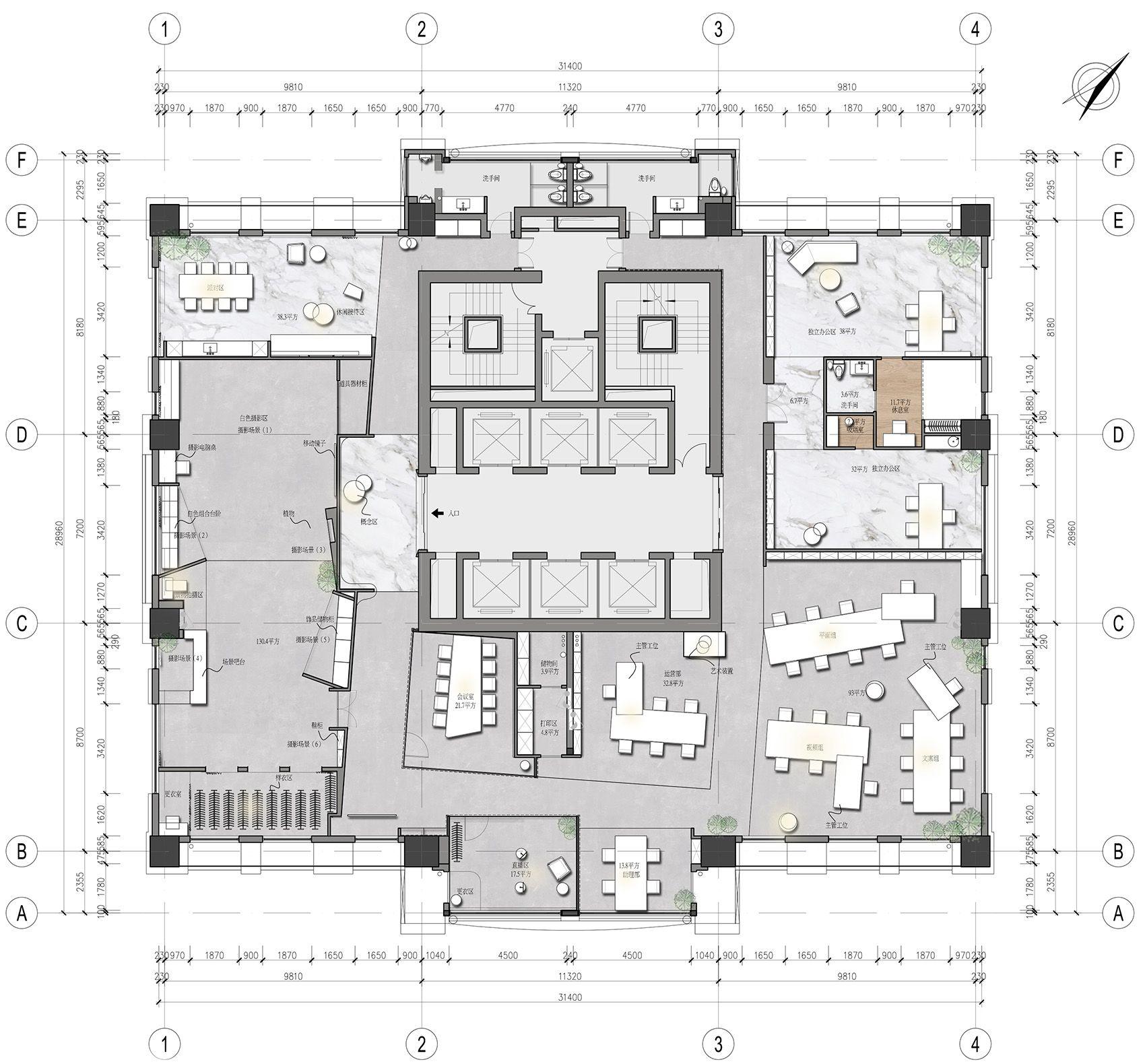时上建筑设计   一条白裙延伸的办公空间 ! 沈墨 - 12