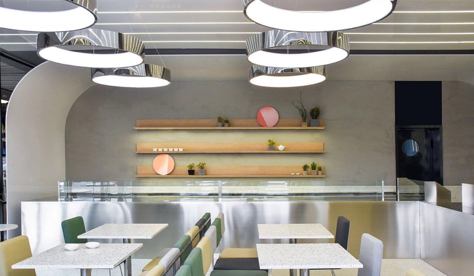 弧形光带围合而成的美食空间 头条计画