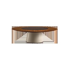 意式极简实木大圆桌餐桌