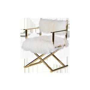 真羊毛奢华银金休闲椅