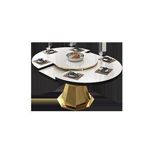 意式极简折叠大理石餐桌