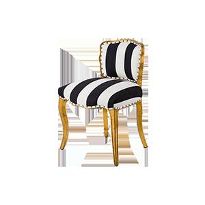 欧式金色黑白条纹餐椅