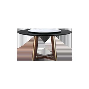 现代实木圆桌大理石餐桌