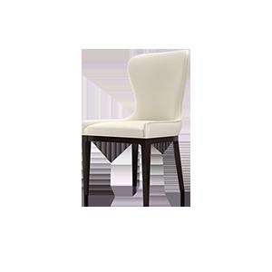 现代轻奢意式真皮实木餐椅