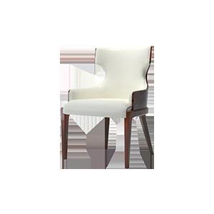 后现代轻奢真皮单人餐椅