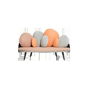 北欧现代实木布艺双人沙发