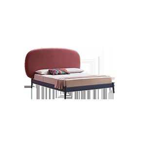 北欧现代实木圆角双人床