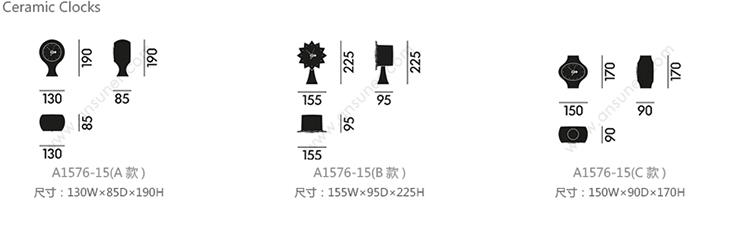 陶瓷钟、ceramic clocks、A1576-15产品详情